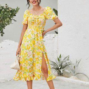 Split Thigh Floral Dress Large (fits like medium)